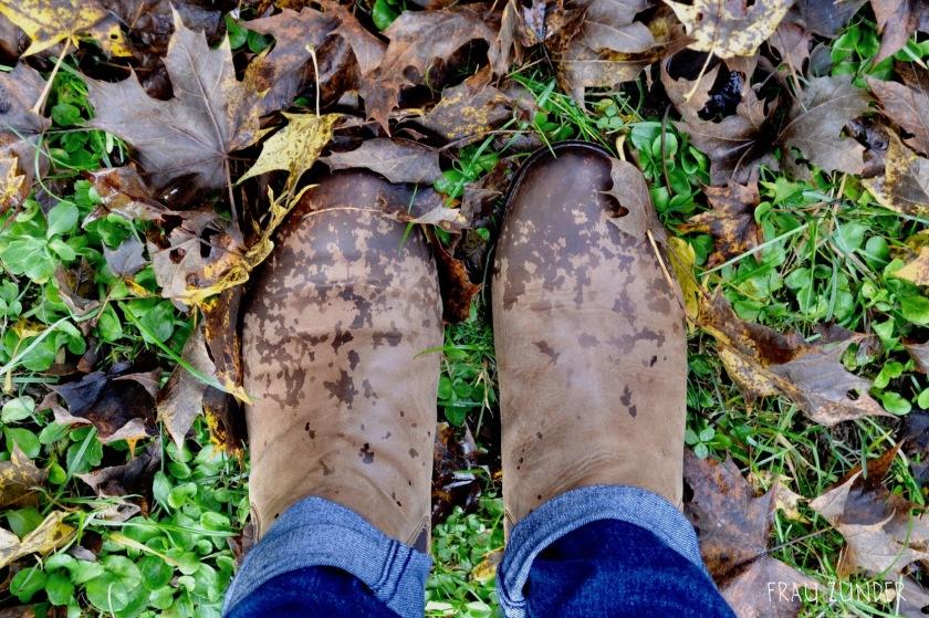 Nasse Stiefel im Laub, Herbst, Bad Mergentheim